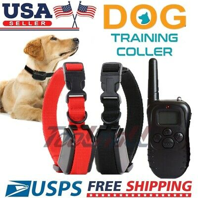 Waterproof 875 Yard 2 Dogs Shock Training Collar Pet Trainer with Remote 4 Mode
