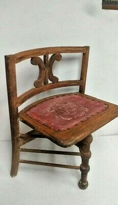 Unusual Antique Folding 3-Legged Occasional Lyre Chair w/Studded Leather Seat