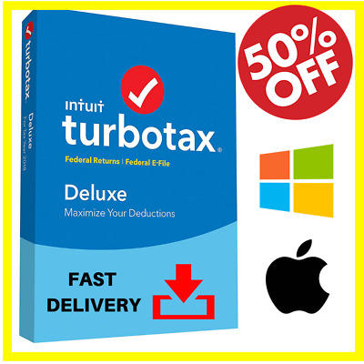 Intuit TurboTax Deluxe 2018 - Federal & State E-file Tax Preparation Win - Mac!!