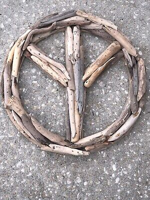PEACE SIGN Driftwood Wall Art Hand Made Wood WALL Hanging Home Decor