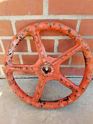 "1 Vintage Stockham 12"" Gate Valve Handle Orange  Steampunk Industrial"