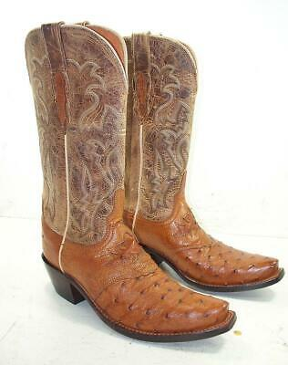 ab22a24365c WOMEN'S LUCCHESE AUGUSTA Full Quill Ostrich Cowboy Boots 7.5 B