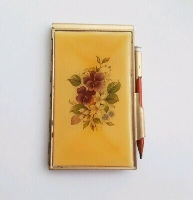 Vintage Pocket Size Gold Metal Notepad And Pencil With Flower Design
