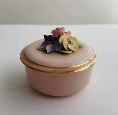 Vintage Crown China crafts Round TRINKET BOX WITH FLOWERS hand made & painted