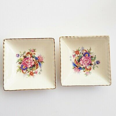 Ridgeways Shelton England ESTD 1792 square butter, jam, pin dish flower design