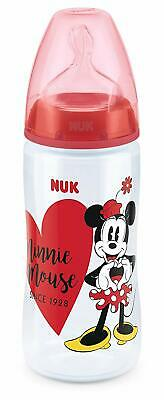 NUK First Choice+ Baby Bottle, Anti-Colic, 6-18 Mo Silicone, Minnie Mouse, 300ml