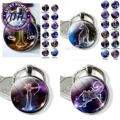 12 Constellations Keychain Constellation Key Rings Zodiac Sign Key Chain Pendant