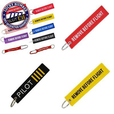 Remove Before Flight Key Chain Red Embroidery Customize Keychain Keyring For Avi