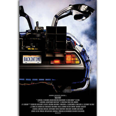 Back To The Future DeLorean Classic movie Art Poster fabric decor12x18 24x36F432