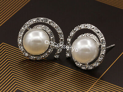 quality white resin pearl crystal silver plated stud earrings girl jewelry E04