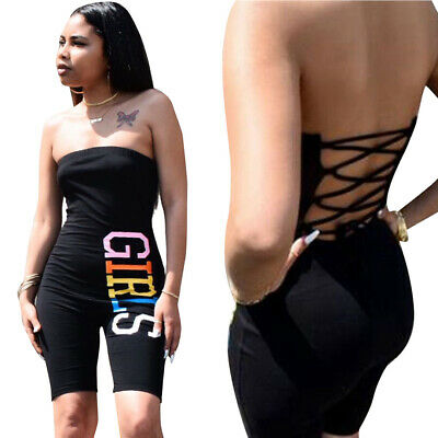 Sexy Women Boat Neck Backless Bandage Letter Printed Bodycon Club Short Jumpsuit