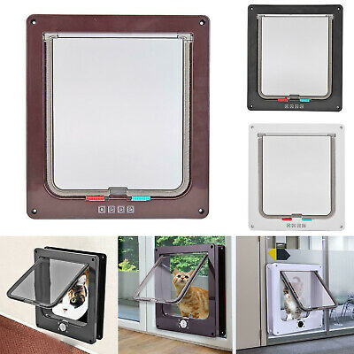 4Way Lockable Pet Flap Door Large Medium Small Size Dog Cat Magnetic Frame S/M/L