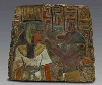 EGYPTIAN ANTIQUES ANUBIS and Nephthys Stela Wall Relief Lemestone EGYPT BC