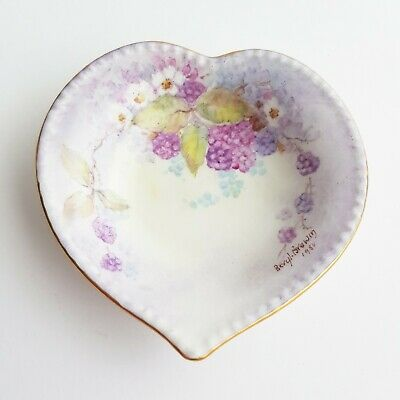 Pretty Hand Painted love heart butter pin dish black berry flower design