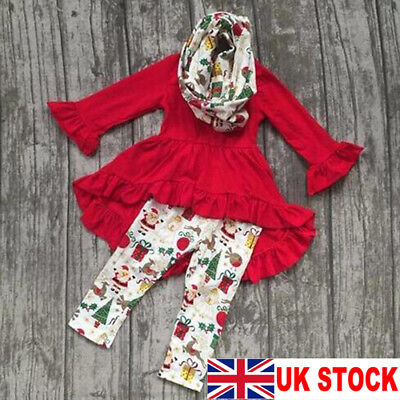 UK Toddler Baby Girl Christmas Clothes Long Sleeve T-shirt+Leggings Pants Outfit