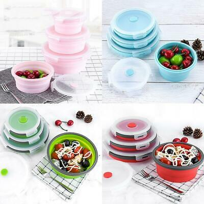 Silicone Foldable Portable Lunch Box Microwave Oven Food Storage EN24H