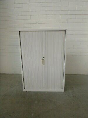Tambour/Office/Garage Storage Cabinet off White Metal with key 39198