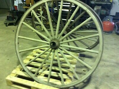 Large Original Wooden Wagon Wheel with steel band - X2