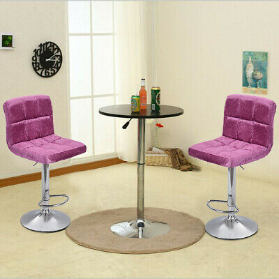 2PC Modern Home Bar With Snowflake Velvet Bar Chair Seat Plating Foot