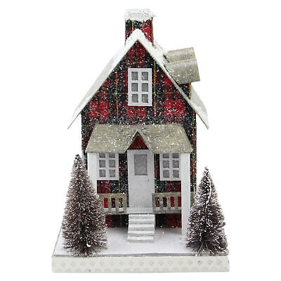 "Northlight 9.5"" Holiday Moments LED Tartan House Christmas Decor White Lights"