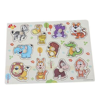 Wooden Number Animal Puzzle Jigsaw Early Learning Baby Kids Educational Toys DS