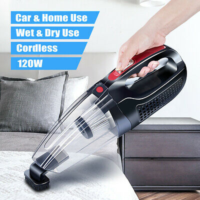 120W Cordless Rechargeable Handheld Dust Vacuum Wet Dry Cleaner Dirt Home Black