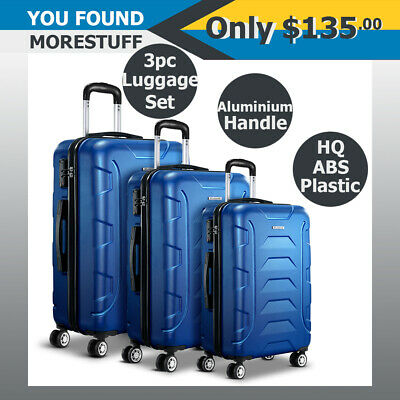 Wanderlite 3pc HQ Luggage Set Suitcase Travel Hard Case Lightweight Blue