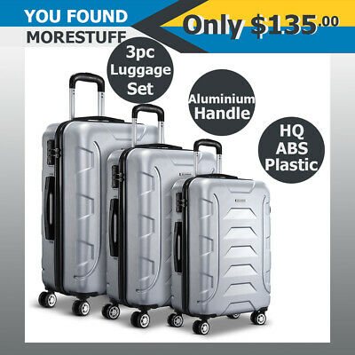 Wanderlite 3pc HQ Luggage Set Suitcase Travel Hard Case Lightweight Silver