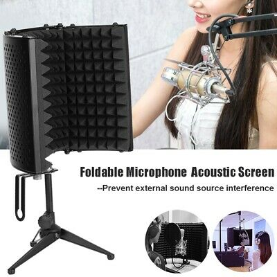 Foldable Microphone Isolation Shield Acoustic Foam Mic Sound Absorber Screen UK