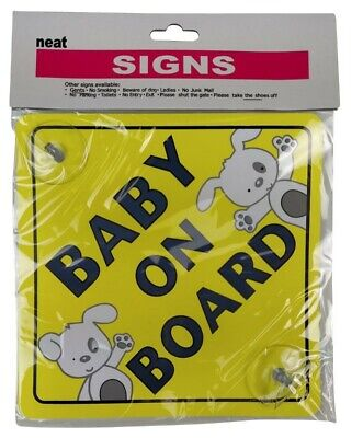 2 X Safety Baby On Board Sign With 2 Suction Cups Vehicle Car Child