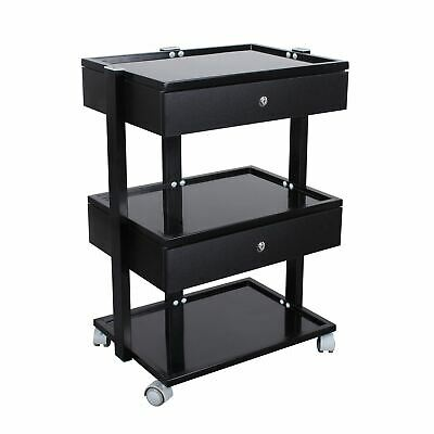 Glass Salon Trolley Beauty Hair Spa Product Display Cabinet 2 drawer black