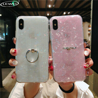 Soft TPU Glitter Phone Case for iPhone w/ Universal Ring Holder socket