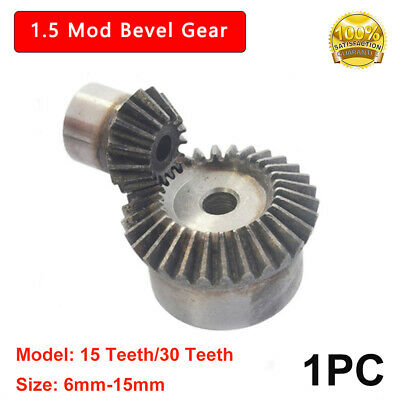 New 1.5 Mod Bevel Gear 15T/30T Bore 5/6/8/10/12/15mm 90° 1:2 Pairing Bevel Gear