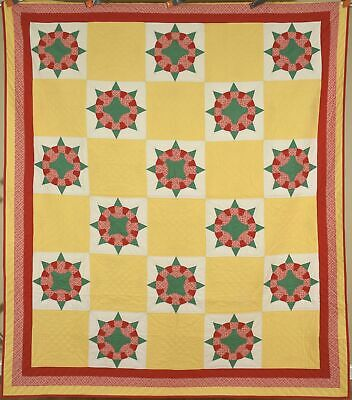 """Large WELL QUILTED Vintage 30's """"Pilot's Wheel"""" Antique Quilt ~MINT CONDITION!"""