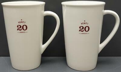 Set of 2 Starbucks 2010 Venti Coffee/Latte/Tea Mugs 20oz White/Brown NEW