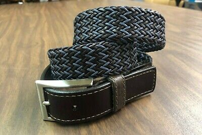 New Men's Leather Dress Belt Casual Belt For Jeans Braided Belt Made In USA Blue