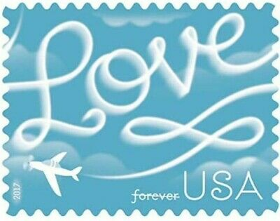100 USPS 2017 Love Skywriting Forever Stamps. First Class Postage Stamp