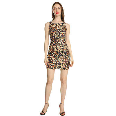 Sexy Women Dress Leopard Print Sleeveless Bandage Bodycon Party Evening Dress W