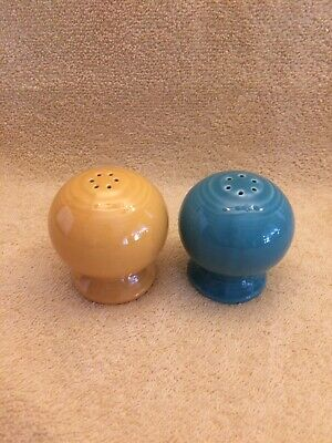 fiestaware  ball style salt and pepper shakers turquoise and merigold