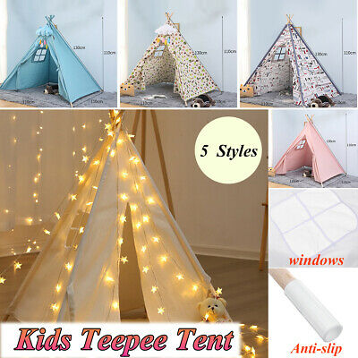 20 Stars LED Light Kids Teepee Play Tent House Indoor Tent Cubby Wigwam Gift Toy