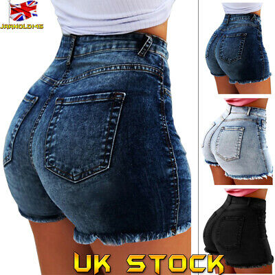 UK Womens Ladies Denim Summer High Waisted Stretch Shorts Jeans Casual Hot Pants