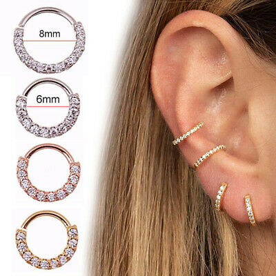 Surgical Steel Hinge Nose Ring Septum Clicker Ear Helix Tragus Ring Rhinestone