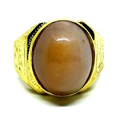 Kaew Witoon Brass Ring honey-color Beautiful Holiness Gem US Size 10 Amulet E20