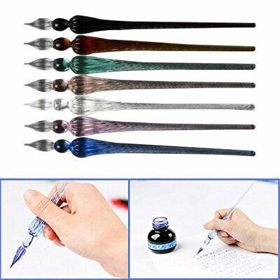 Vintage Glass Dip Dipping Pen Signature Filling Ink Fountain Pens With Gift Box