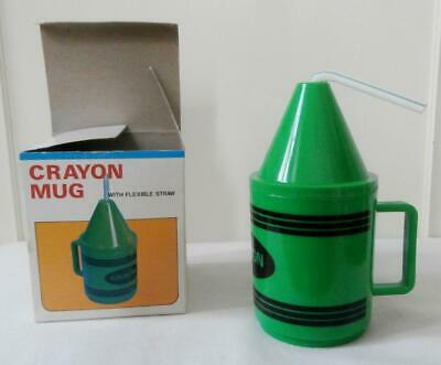 BNIB Vintage Early 1970's Green Crayon Toddlers' Childs' Cup Mug  Deadstock