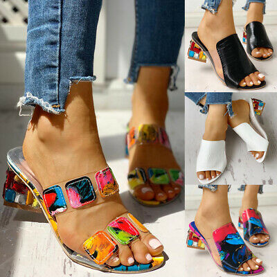 Womens Slip On Block Heels Sandals Ladies Summer Beach Backless Mules Shoes Size