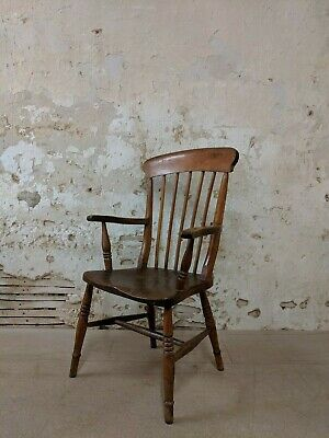 Victorian Elm Lath Back Windsor Chair, Antique