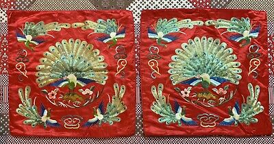"""2 Antique Chinese Hand Embroidered Silk Cushions Decor 16"""" By 16"""""""