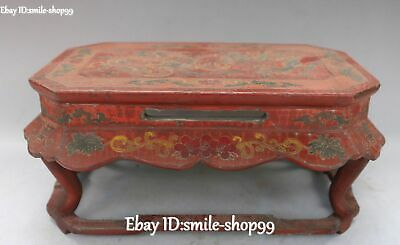Old Wood lacquerware Carved Double Dragon Play Beads Flower Desk Table Statue