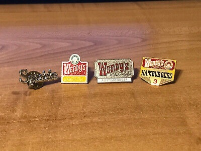 Lot of 4 Wendy's Old Fashioned Hamburgers 1986-1990 Hat-Tie Pins - Used